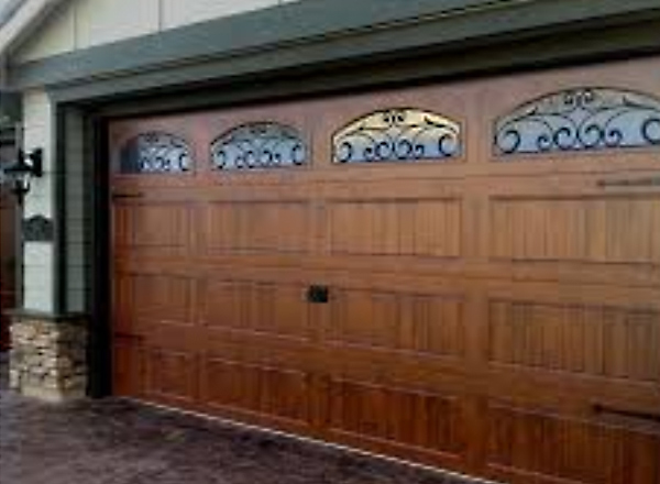 Wide Custom Garage Door with Glass Windows Install