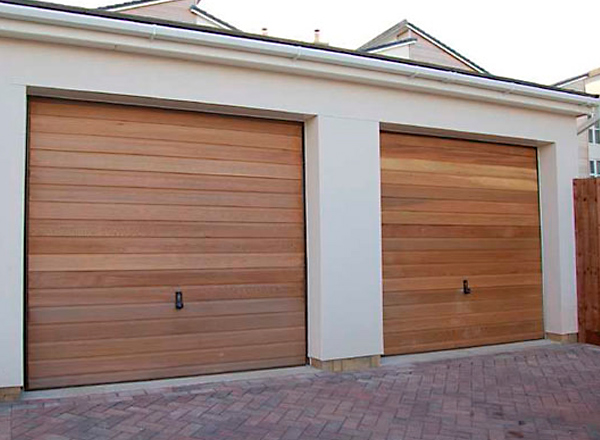 Double Garage Door Install Wooden Slats