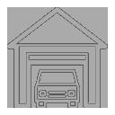 Car in garage icon gray