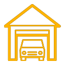 Car in garage icon yellow