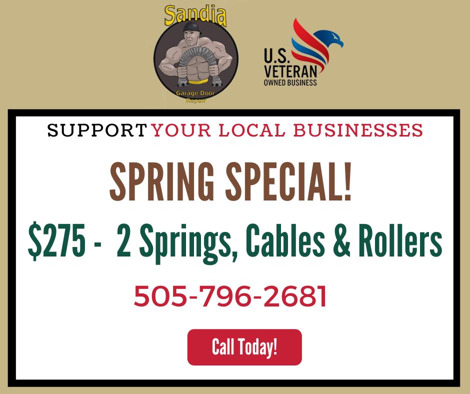 Sandia garage door repair spring special